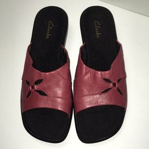 "Clarks Red Leather Slip On Sandals 1-3/4"" heel"